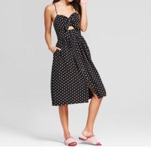 Polka Dot Button Down Knot Front Midi Dress